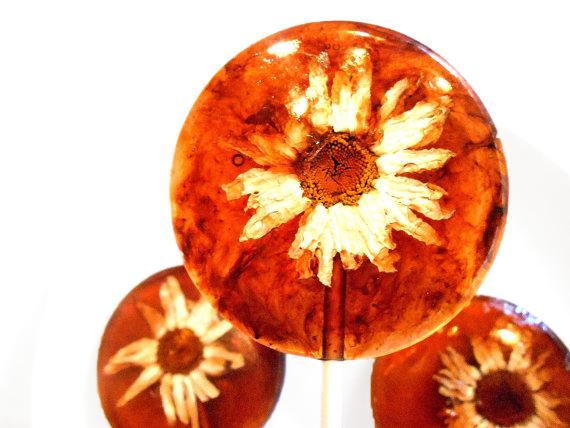 edible flower lollipops